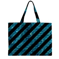 Stripes3 Black Marble & Blue Green Water Zipper Mini Tote Bag by trendistuff