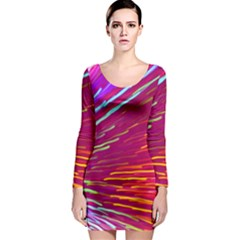 Zoom Colour Motion Blurred Zoom Background With Ray Of Light Hurtling Towards The Viewer Long Sleeve Bodycon Dress by Mariart