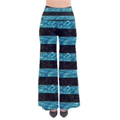 Stripes2 Black Marble & Blue Green Water So Vintage Palazzo Pants by trendistuff