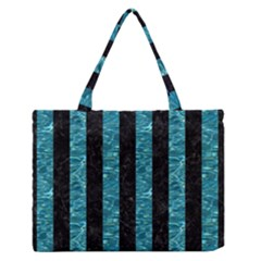 Stripes1 Black Marble & Blue Green Water Medium Zipper Tote Bag by trendistuff