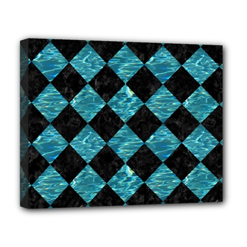 Square2 Black Marble & Blue Green Water Deluxe Canvas 20  X 16  (stretched) by trendistuff