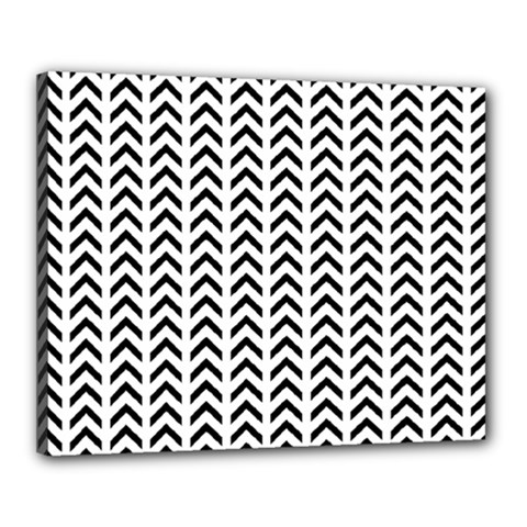Chevron Triangle Black Canvas 20  X 16  by Mariart