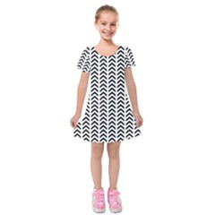 Chevron Triangle Black Kids  Short Sleeve Velvet Dress