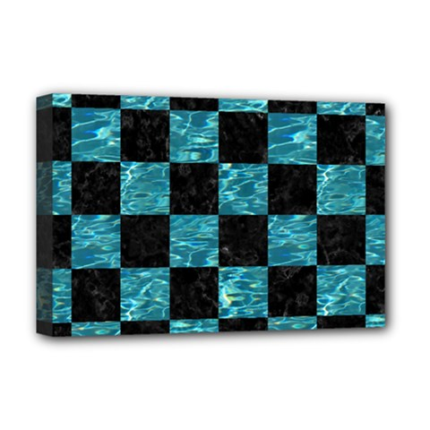 Square1 Black Marble & Blue Green Water Deluxe Canvas 18  X 12  (stretched) by trendistuff
