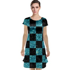 Square1 Black Marble & Blue Green Water Cap Sleeve Nightdress by trendistuff