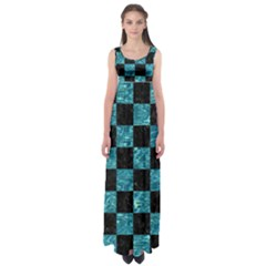 Square1 Black Marble & Blue Green Water Empire Waist Maxi Dress