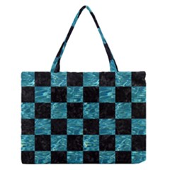 Square1 Black Marble & Blue Green Water Medium Zipper Tote Bag by trendistuff