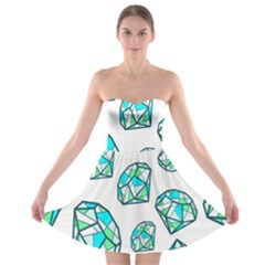 Brilliant Diamond Green Blue White Strapless Bra Top Dress by Mariart