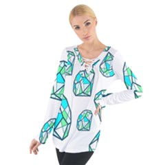 Brilliant Diamond Green Blue White Women s Tie Up Tee by Mariart