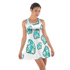 Brilliant Diamond Green Blue White Cotton Racerback Dress by Mariart