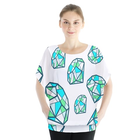 Brilliant Diamond Green Blue White Blouse by Mariart