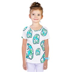 Brilliant Diamond Green Blue White Kids  One Piece Tee by Mariart