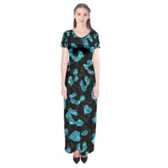 Skin5 Black Marble & Blue Green Water (r) Short Sleeve Maxi Dress