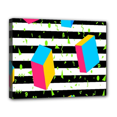 Cube Line Polka Dots Horizontal Triangle Pink Yellow Blue Green Black Flag Canvas 14  X 11  by Mariart