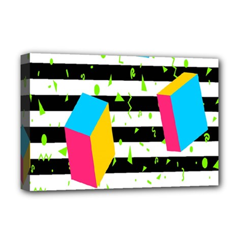 Cube Line Polka Dots Horizontal Triangle Pink Yellow Blue Green Black Flag Deluxe Canvas 18  X 12   by Mariart