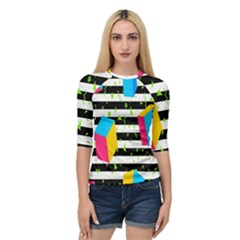 Cube Line Polka Dots Horizontal Triangle Pink Yellow Blue Green Black Flag Quarter Sleeve Tee by Mariart