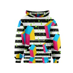 Cube Line Polka Dots Horizontal Triangle Pink Yellow Blue Green Black Flag Kids  Pullover Hoodie