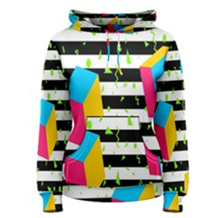 Cube Line Polka Dots Horizontal Triangle Pink Yellow Blue Green Black Flag Women s Pullover Hoodie