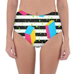 Cube Line Polka Dots Horizontal Triangle Pink Yellow Blue Green Black Flag Reversible High Waist Bikini Bottoms by Mariart
