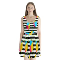 Cube Line Polka Dots Horizontal Triangle Pink Yellow Blue Green Black Flag Split Back Mini Dress  by Mariart