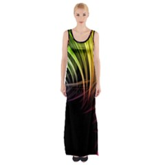 Colorful Abstract Fantasy Modern Green Gold Purple Light Black Line Maxi Thigh Split Dress