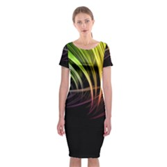 Colorful Abstract Fantasy Modern Green Gold Purple Light Black Line Classic Short Sleeve Midi Dress by Mariart