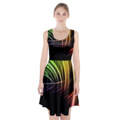 Colorful Abstract Fantasy Modern Green Gold Purple Light Black Line Racerback Midi Dress by Mariart