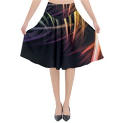 Colorful Abstract Fantasy Modern Green Gold Purple Light Black Line Flared Midi Skirt by Mariart