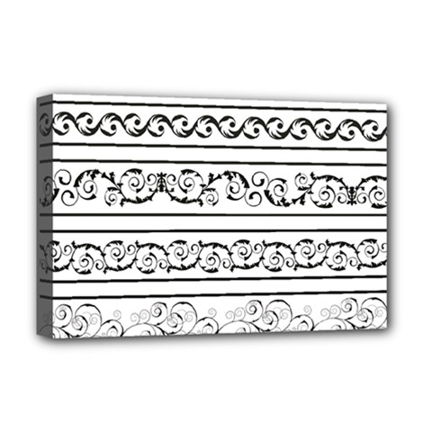 Black White Decorative Ornaments Deluxe Canvas 18  X 12   by Mariart
