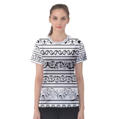 Black White Decorative Ornaments Women s Sport Mesh Tee