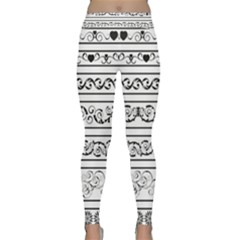 Black White Decorative Ornaments Classic Yoga Leggings by Mariart