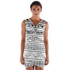 Black White Decorative Ornaments Wrap Front Bodycon Dress by Mariart