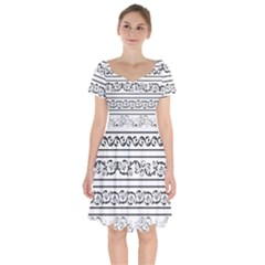 Black White Decorative Ornaments Short Sleeve Bardot Dress by Mariart