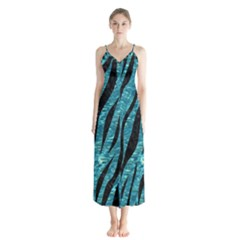 Skin3 Black Marble & Blue Green Water (r) Button Up Chiffon Maxi Dress