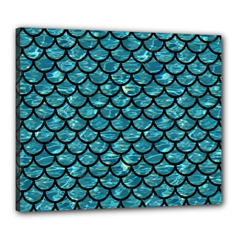 Scales1 Black Marble & Blue Green Water (r) Canvas 24  X 20  (stretched) by trendistuff