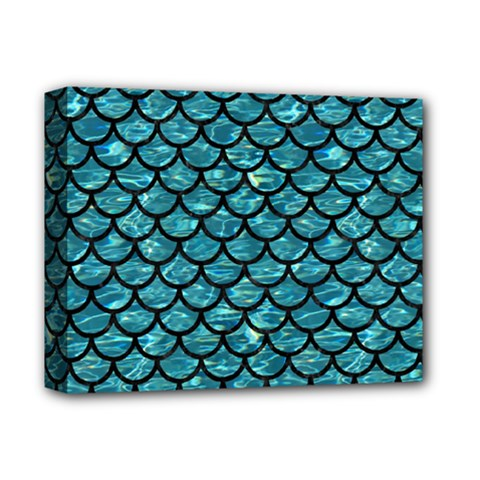 Scales1 Black Marble & Blue Green Water (r) Deluxe Canvas 14  X 11  (stretched) by trendistuff
