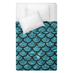 Scales1 Black Marble & Blue Green Water (r) Duvet Cover Double Side (single Size) by trendistuff