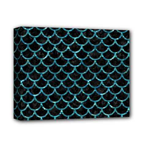 Scales1 Black Marble & Blue Green Water Deluxe Canvas 14  X 11  (stretched) by trendistuff