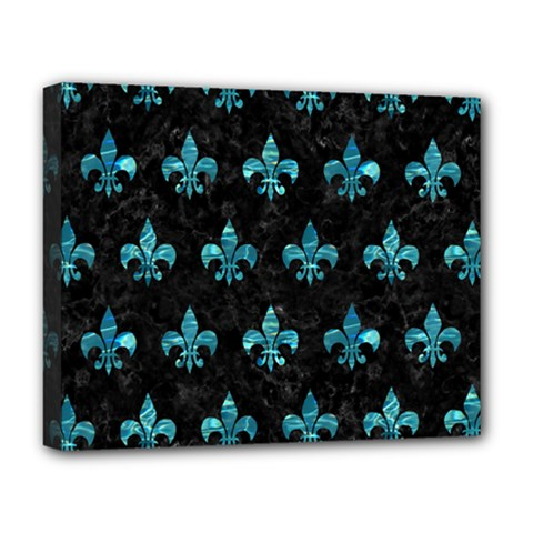 Royal1 Black Marble & Blue Green Water (r) Deluxe Canvas 20  X 16  (stretched) by trendistuff