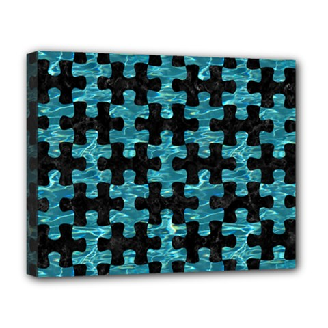 Puzzle1 Black Marble & Blue Green Water Deluxe Canvas 20  X 16  (stretched) by trendistuff