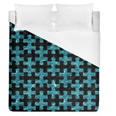 Puzzle1 Black Marble & Blue Green Water Duvet Cover (queen Size) by trendistuff