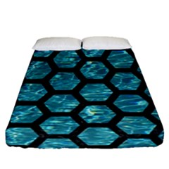 Hexagon2 Black Marble & Blue Green Water (r) Fitted Sheet (queen Size) by trendistuff