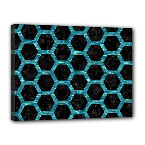 Hexagon2 Black Marble & Blue Green Water Canvas 16  X 12  (stretched) by trendistuff