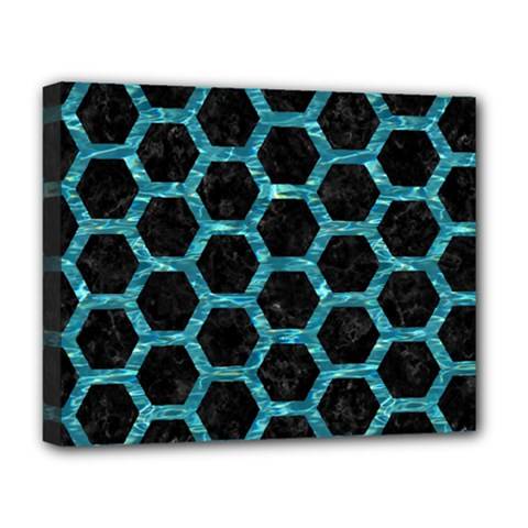 Hexagon2 Black Marble & Blue Green Water Deluxe Canvas 20  X 16  (stretched) by trendistuff