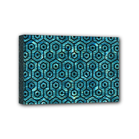 Hexagon1 Black Marble & Blue Green Water (r) Mini Canvas 6  X 4  (stretched) by trendistuff