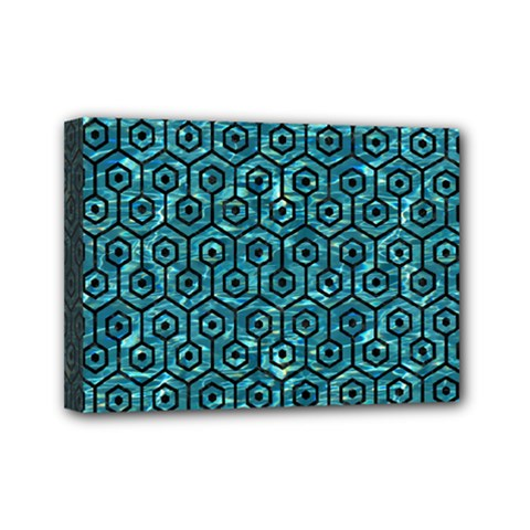 Hexagon1 Black Marble & Blue Green Water (r) Mini Canvas 7  X 5  (stretched) by trendistuff