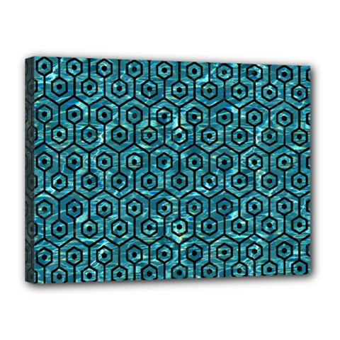 Hexagon1 Black Marble & Blue Green Water (r) Canvas 16  X 12  (stretched) by trendistuff