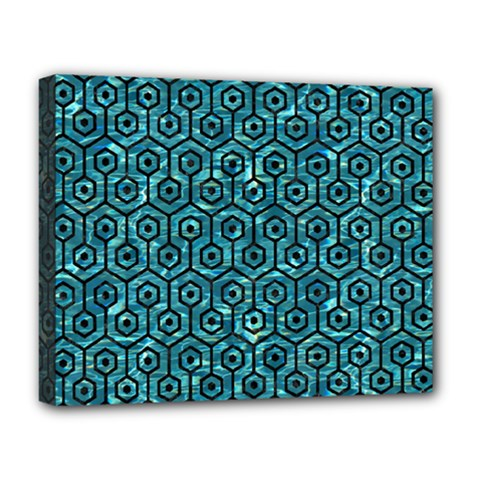 Hexagon1 Black Marble & Blue Green Water (r) Deluxe Canvas 20  X 16  (stretched) by trendistuff