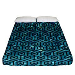 Hexagon1 Black Marble & Blue Green Water (r) Fitted Sheet (queen Size) by trendistuff