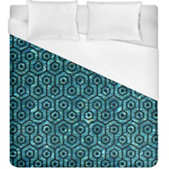 Hexagon1 Black Marble & Blue Green Water (r) Duvet Cover (king Size) by trendistuff
